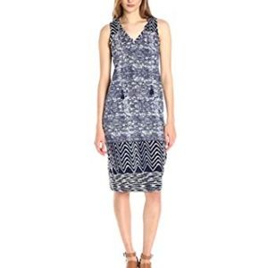 Lucky Brand Blue Batik Sleeveless Midi Dress